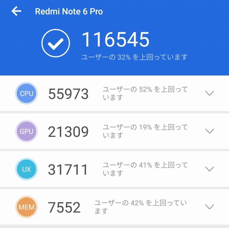 Xiaomi Redmi Note 6 Pro ANTUTU